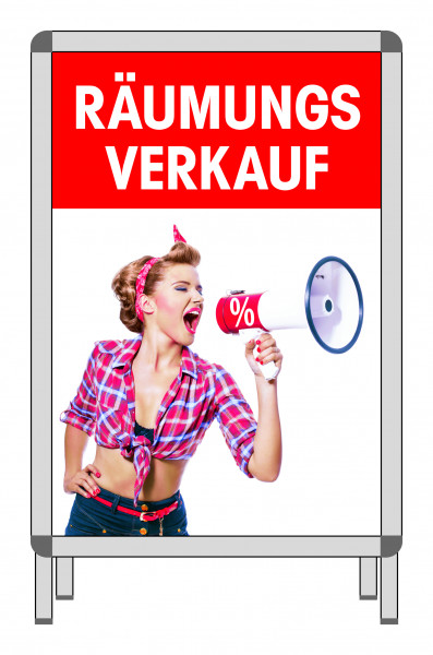 "Rahmenplakat ""Räumungsverkauf-Megaphon"""